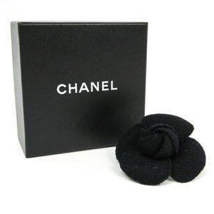 CHANEL Fabric Black Camellia Flower Pin Brooch Box